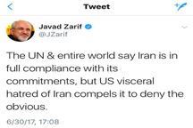 ظریف: دنیا میگوید ایران به تعهداتش پایبند است اما آمریکا منکر می شود