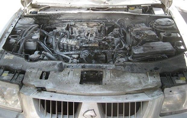 خودروی سمند در نهاوند دچار حریق شد