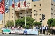 حلقه انسانی کارگران خوزستانی در حمایت از سازمان تأمین اجتماعی