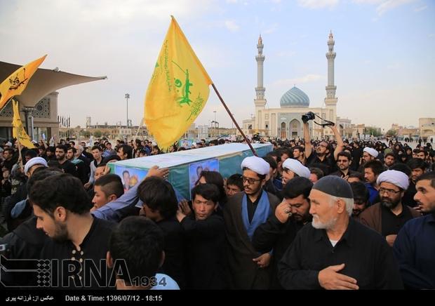 پیکر مطهر شهید مدافع حرم در قم تشییع شد