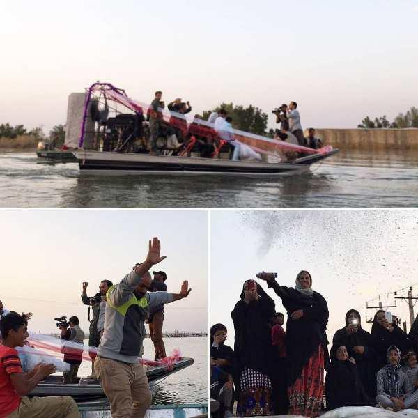 زوج جوان دشت آزادگانی ازدواجشان را در قایق جشن گرفتند