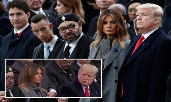جنجال چرت زدن پادشاه مراکش کنار ملانیا ترامپ+ عکس
