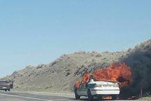خودرو پلیس جغتای در آتش سوخت