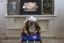 آیت الله صافی گلپایگانی از مراجع تقلید آرای خود را به صندوق انداخت