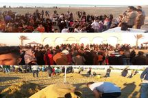 برگزاری جشنواره مجسمه های شنی در ساحل گناوه