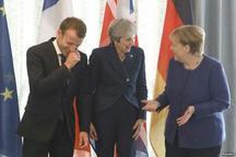 خنده سران فرانسه، بریتانیا و آلمان در نشست اتحادیه اروپا