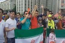 تشویق و حمایت هواداران تیم ملی در میدان سرخ مسکو+فیلم
