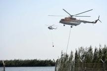 عملیات مهار آتش سوزی در بخش عراقی تالاب هورالعظیم