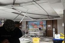 نشت آب سقف بخش اطفال بیمارستان هاجر شهرکرد را فرو ریخت