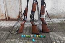 سه قبضه اسلحه غیرمجاز از متخلفان شکار در شفت کشف شد