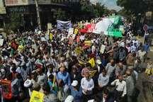 نمایش ظلم ستیزی زنجانیان در راهپیمایی روز قدس