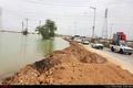 گزارش تصویری ورود سیلاب به خروجی جاده اهواز - آبادان در دو کیلومتری کوت عبدالله