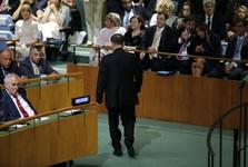 وقتی نماینده کره شمالی سخنرانی ترامپ را ترک می کند+ عکس