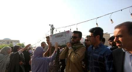 پیکر شهیده مینابی حادثه تروریستی تهران در بندرعباس تشییع شد
