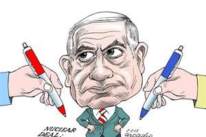 نتانیاهو در برابر توافق هسته ای/کاریکاتور