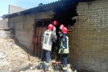 آتش سوزی در کارگاه تولید خوراک دام و طیور در جاده اهواز - حمیدیه