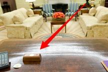 عکس/ دکمه قرمز مرموز روی میز ترامپ چیست؟