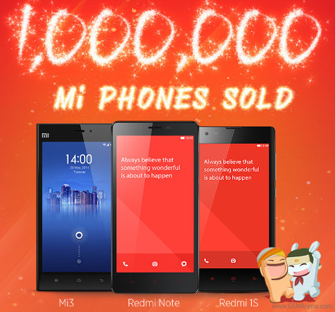 فروش یک میلیون اسمارت فون شیائومی در هند