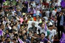 جشن پیروزی دوباره حسن روحانی رییس جمهوری منتخب در شهرکرد