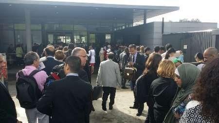 صف انتظار خبرنگاران پشت درهای کنفرانس ژنو