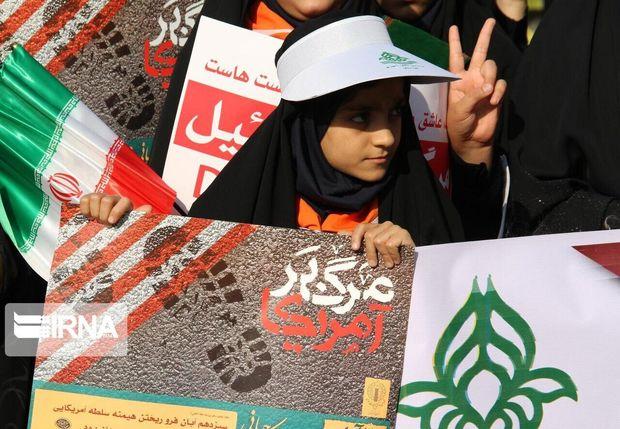فریاد استکبارستیزی مردم خوزستان در راهپیمایی ۱۳ آبان