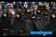 حضور همسر و دختران رئیس جمهور و خانواده برخی از مسئولان نظام در مراسم تحلیف