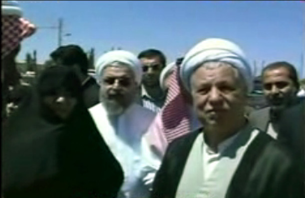 حضور هاشمی رفسنجانی و حسن روحانی در باغ فدک