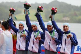 دختران ایرانی، اولین مدال قایقرانی آسیایی را بر گردن آویختند