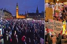 میدان پارلمان انگلیس در اشغال معترضان ضد ترامپ+ تصاویر
