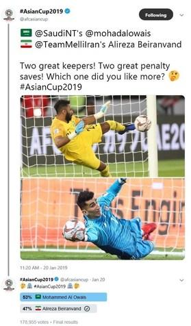 در نظرسنجی AFC دروازهبان عربستان بالاتر از بیرانوند ایستاد + عکس