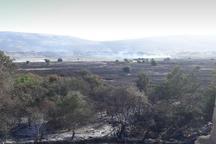 آتش در زمین های کشاورزی یک  روستای ایذه مهار شد