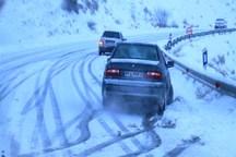 جاده های البرز بر اثر بارش برف و باران لغزنده است