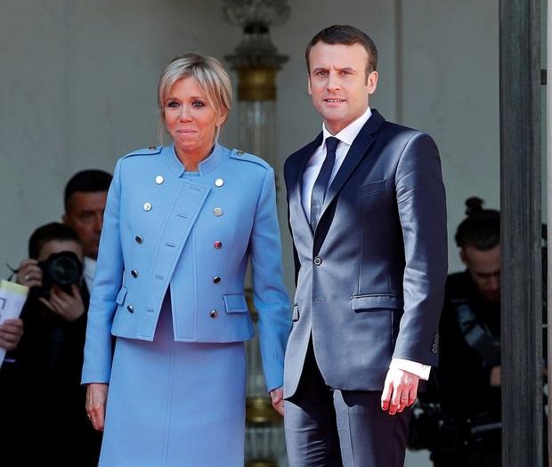 امانوئل ماکرون رئیس جمهور فرانسه و همسرش بریژیت