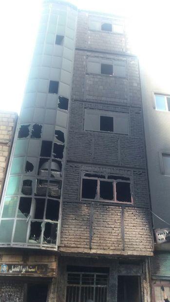 آتش سوزی یک ساختمان چهار طبقه در تبریز