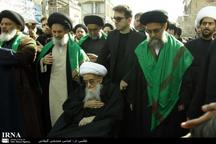 حضور دو تن ازمراجع تقلید دردسته عزاداری سالروز شهادت حضرت زهرا(س) درقم