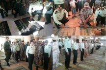 نیروهای انتظامی گلزارهای شهدا درشهرهای استان بوشهر راغبار روبی کردند