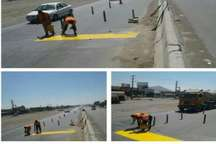 رنگ آمیزی و آشکارسازی سرعت گیرهای آزاد راه کرج- قزوین