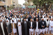 شیعه و سنی ایرانشهر اقتدارشان را در راهپیمایی 22 بهمن به نمایش گذاشتند