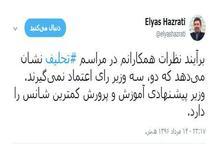 الیاس حضرتی: دو سه وزیر رای اعتماد نمی گیرند