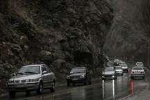 بارش باران و ترافیک سنگین درجاده های البرز