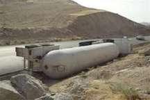 بازگشایی جاده طبس به یزد پس از   واژگونی تانکر گاز
