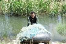 جمع آوری 700 متر تور غیر مجاز ماهیگیری در میاندوآب