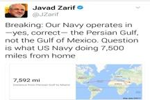 پست توییتری ظریف درباره حضور آمریکا در خلیجفارس+عکس