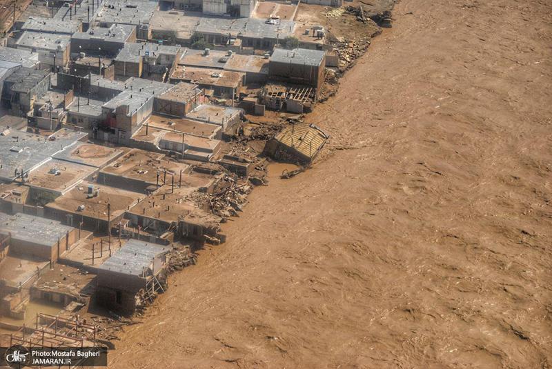 تصاویر هوایی از پلدختر بعد از سیل