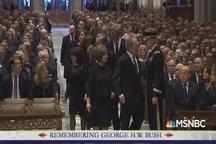 ۵ رییس سابق و فعلی ایالات متحده آمریکا در مراسم گرامیداشت جرج بوش پدر