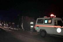 بررسی حادثه واژگونی اتوبوس یزد - کرمان توسط کارشناسان پلیس راه