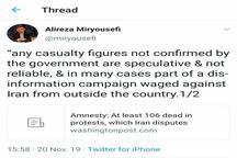 رد ادعای سازمان عفو بین الملل درخصوص تعداد کشته شدگان در ناآرامی های اخیر ایران