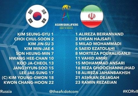 ترکیب تیم ملی فوتبال ایران و کره جنوبی