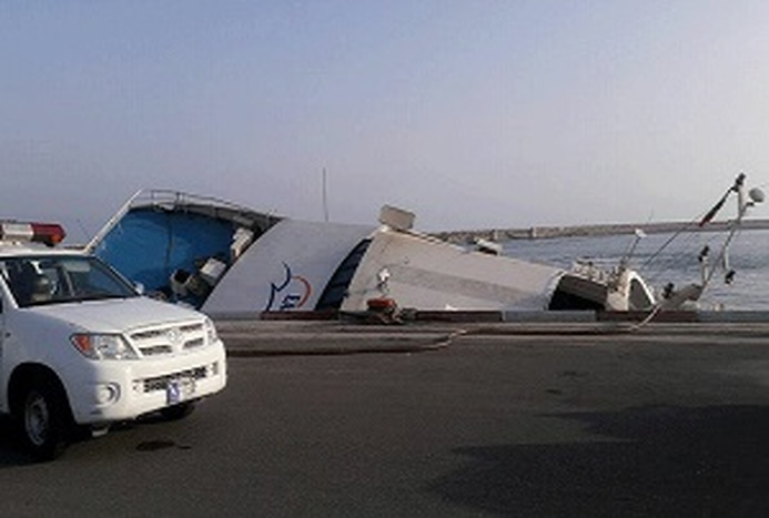 کشتی دنا در اسکله تجاری بندر کیش غرق شد+ فیلم