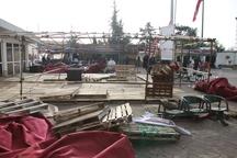 تخریب بخشی از موکب های زائران خارجی اربعین به علت تندباد در آستارا